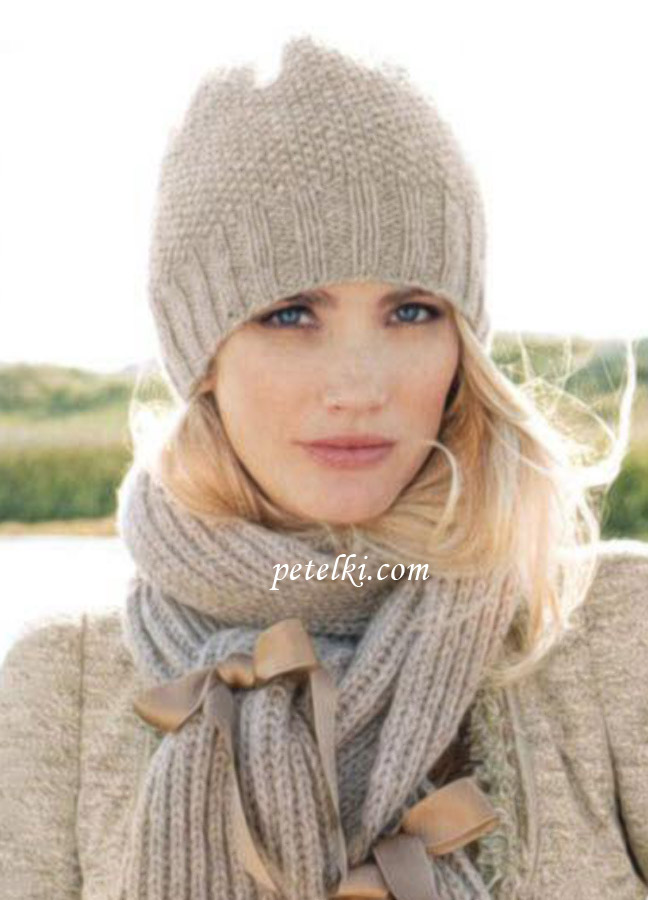 Модные вязаные шапки спицами: