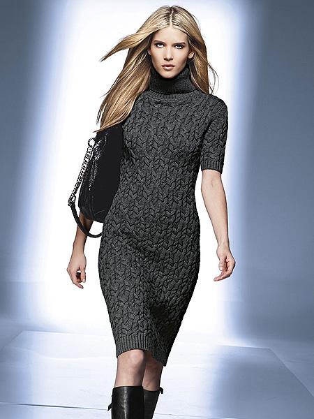 Модные вязаные платья.