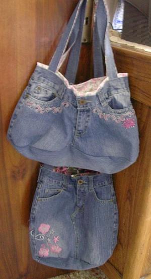Сумка торба из джинсов выкройка