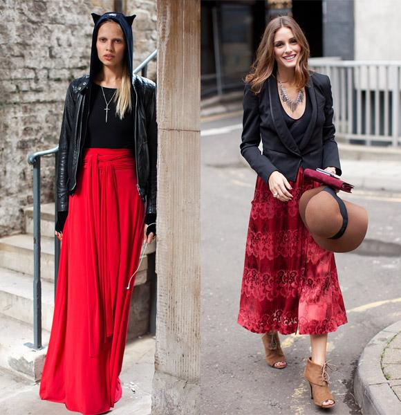 С чем носить длинную красную юбку в пол