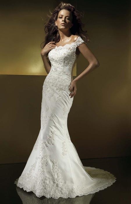 Не пышные свадебные платья с камнями
