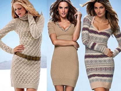 Зимние вязаные платья