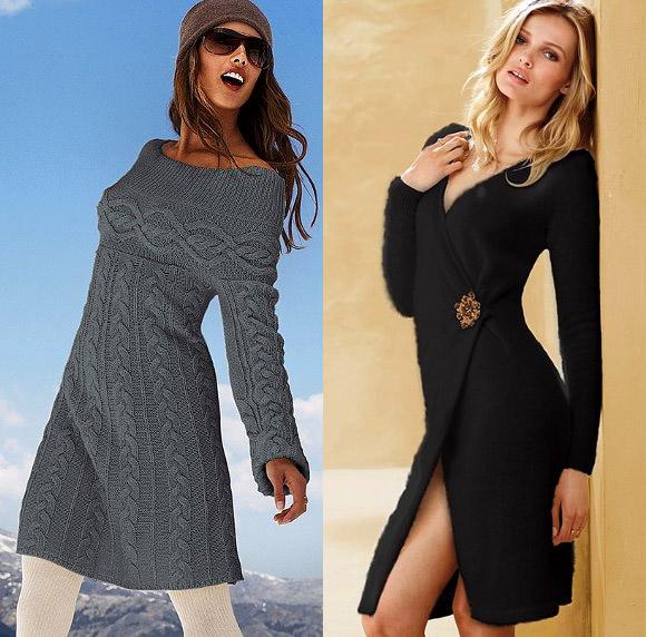 зимние вязанные платья схемы,
