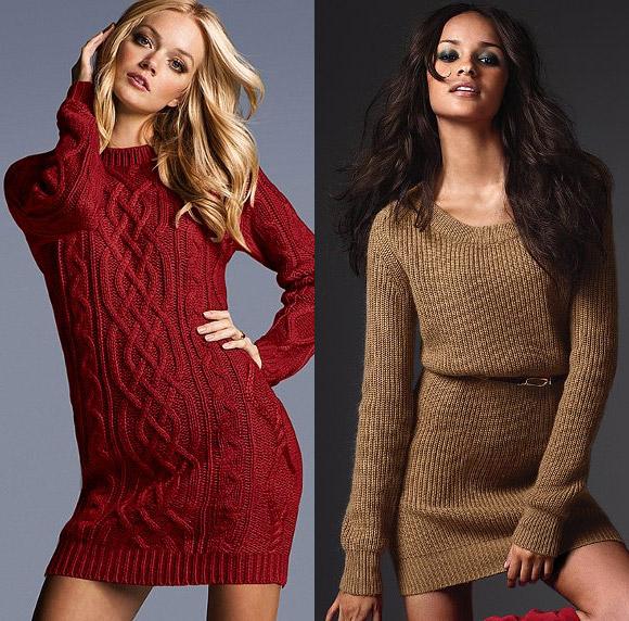 Вязанные свитер платье